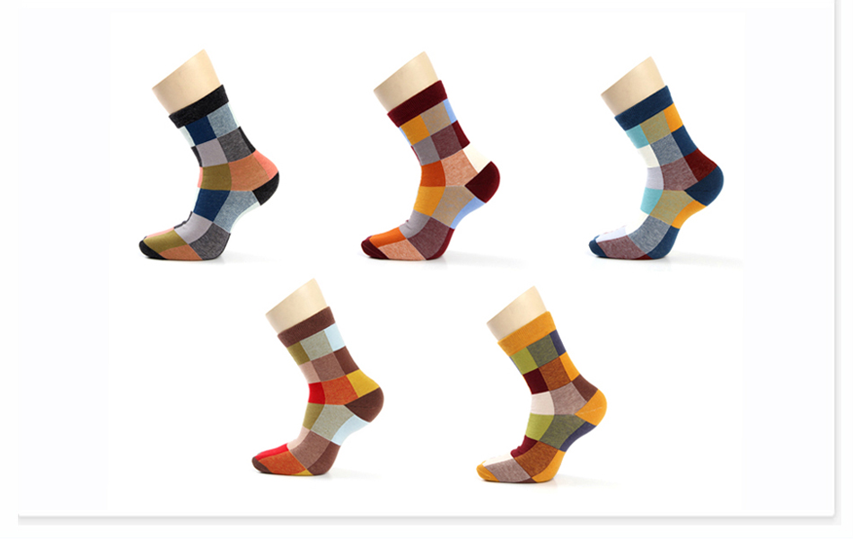 5 Pairs/Lot Combed Cotton Men's Socks Compression Socks Fashion Colorful Square Happy Dress Socks Men Size 39-45