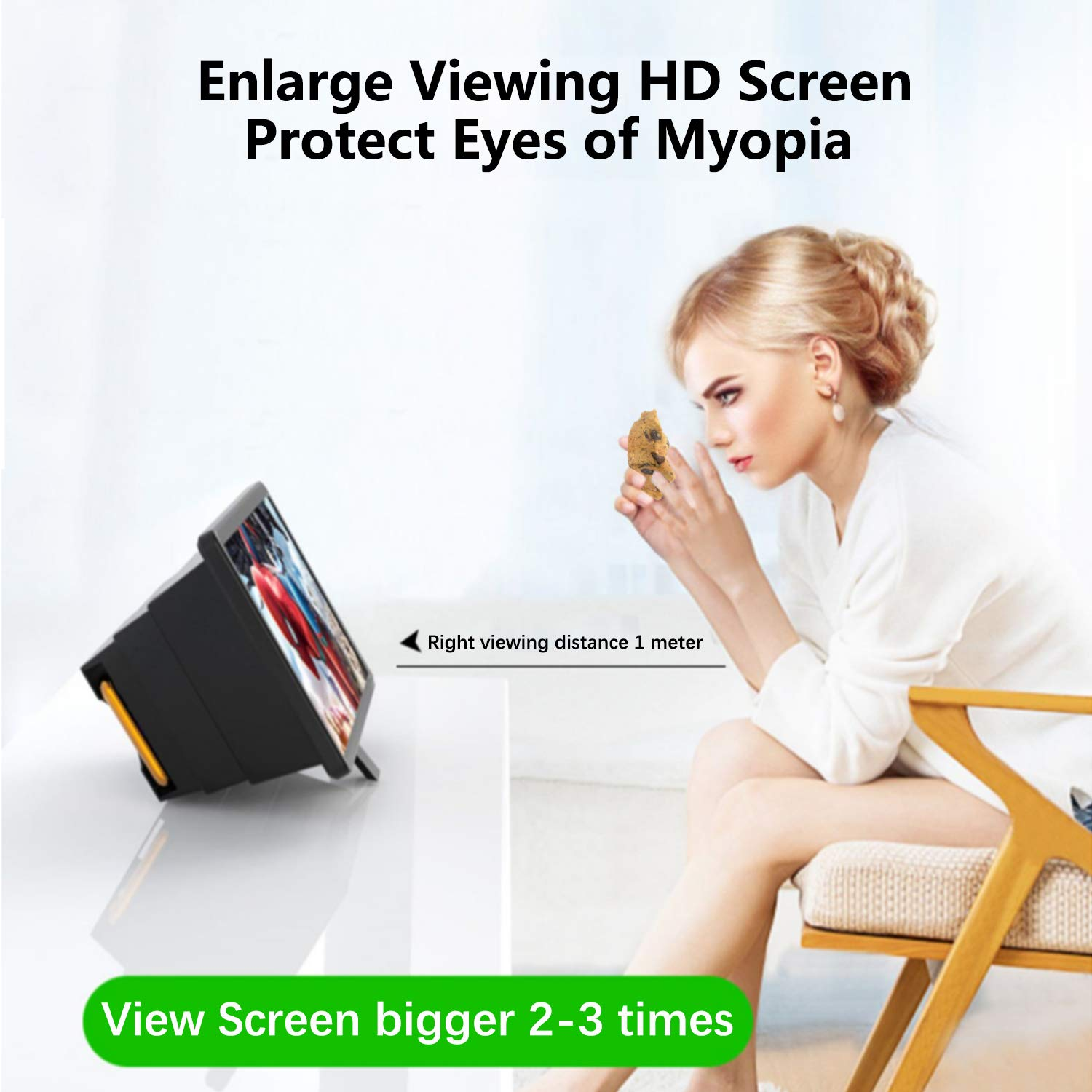 Phone Screen Magnifier 3D HD Enlarger Portable Movies Videos Make Big Screen